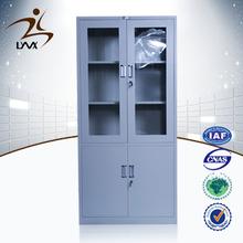 Henan mingxiu modern steel office furniture 2 swing glass door metal file cabinet / steel file cabinet