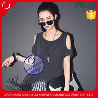 Custom plain 100% cotton printed tassels shoulder tshirt for women