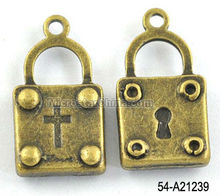 11*20mm jewelry bronze tone alloy lock pendant with cross