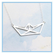 Stainless Steel Rose Gold Geometric Paper Boat Necklace