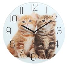 Fashion Kids Clock Glass Wall Clock Cute Design Decorative Cat Wall Clock for Children Room