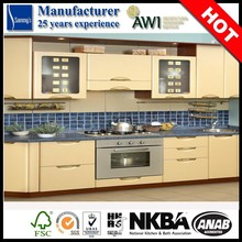 French Style milk yellow high quality Lacquer kitchen furniture