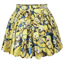 Colored Cartoon Printed Cute Short Mini Skirt for Young Girls pleated skirt