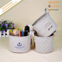 Foldable fabric basket/printed cotton jute storage box