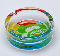 Beautiful round glass ashtray with customer's logo