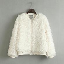 2015 Autumn Winter Women Zipper Long Sleeve Plush Coat