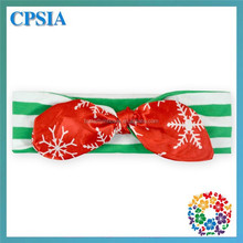 Red White Snowflake Bow & Green White Stripe Head Wrap Fancy Top baby knot headband Christmas