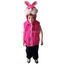 Factory supplier warm Animal style plush pink rabbit vest for girls