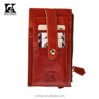 SK-7014 SK design genuine leather card case with zipper pocket coin case
