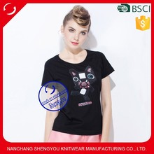 2015 China supplier custom 100% polyester women beaded tshirt