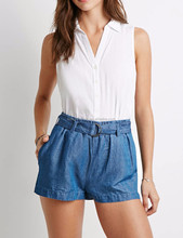 high summer denim hot pants girls jeans hot pants with buckled self bandage