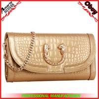 Wholesale leather metal chain clutch bag made in China
