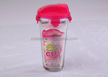 high quality travel glass drinking bottle with plastic lid