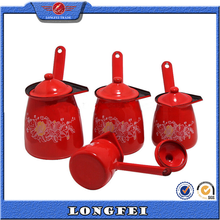 Red color enamel coffee warmer can with lid
