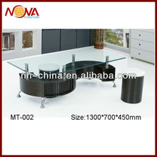 S shape hot sale clear tempered glass coffee table with stools