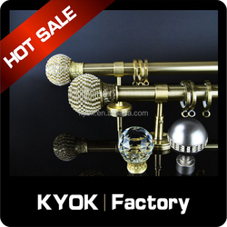 KYOK Electroplated AB/AC hollow metal curtain rod factory ,fancy curtain rods in india