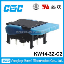 KW14-3Z-C2 good quality telephone switch:copper contact hook switch with click sound and plastic leg, telephone switch