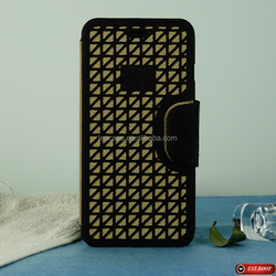 silicon mesh+linen case+PC shell flip magnetic phone accessories case for iphone 6+