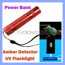 3600mAh External Battery Charger Cell Phone LED Ultra Violet Lights Jade Detector UV Flashlight