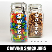 2015 new product hight quality square glass beverage snack candy pickle Jar glass letter print mason jar with aluminum lid