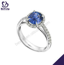 Blue gemstone handmade wholesale in china cheap silver ring