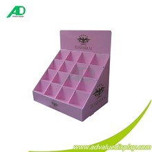 Compartments lattice pink color cardboard counter display stand for cosmetic makeup sets hot sales