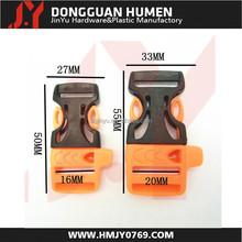 Jinyu plastic buckle/quick release plastic whistle buckle/plastic side release buckle