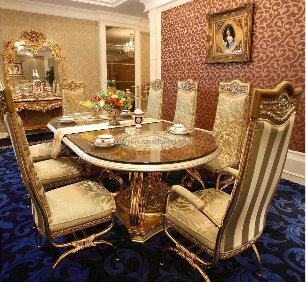 luxury french baroque style golden metal dining table with