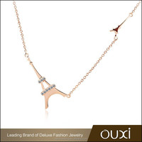 OUXI Factory wholesale fashion Eiffel tower pendant trendy necklace 2014