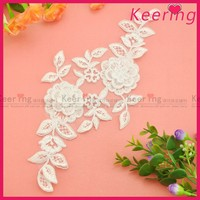 hot fix beaded white color lace motif WLS-644