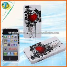 Heart Design Skin Case For Apple Iphone 4G 4S Glossy Hard Mobile Phone Plastic Case