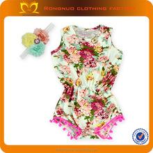 2015 Latest Babeeni Smocked Rompers Vintage ONeck Flower Print Jumpsuit Kids Sequin Jumpsuit
