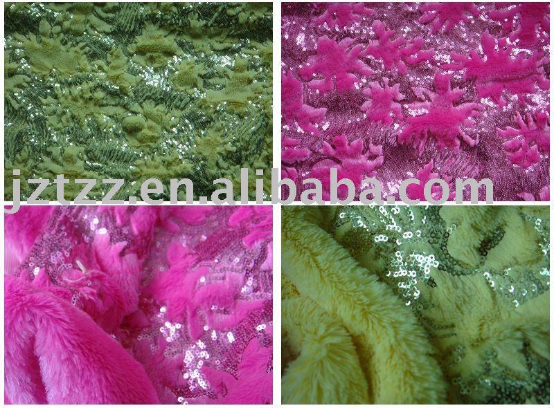 De pelo largo de lana pv con lentejuelas