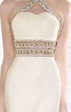 2015 New Arrival Sexy Jewel Sleeveless Mermaid See Through Back Beading Black Velvet Evening Dress