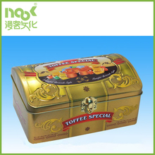Golden reusable toffee special packaging treasure chest shape tin box with lock