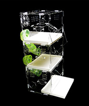New style clear square household 3 steps acrylic hamster cage for sale with available price