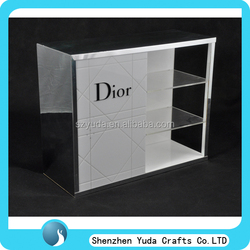 personalized black and white 3 layers acrylic cosmetic display makeup case with logo printing