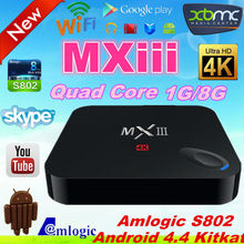 Newest product!!! MXIII TV Box Amlogic S802 Quad Core android 4.4 Cort-ex A9 1G/8G quad core google android 4.4 tv box