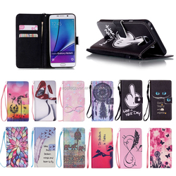 New Product Colorful PU Leather Wallet Flip Case for Samsung Galaxy Note5 with hand line , for Samsung Note5 case cover