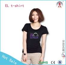 wireless el panels for t shirt , sound activated and steady on two function, music light up t shirt