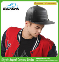 5-panel black PU leather fashion snapback cap with zipper 2015 Hot Sale