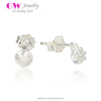 Fancy S925 Sterling Silver Flower CZ Earrings For Bridal Wedding Party