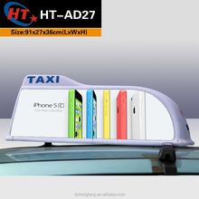 White sharp shape led top advertising taxi sign