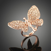 Mysterious compact bling diamond carved angel wings gold butterfly rings for teenage girls