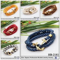 fashion braided antique silver love anchor charm infinity leather bracelet