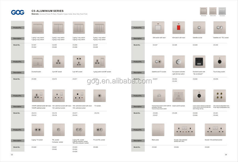 Uk Type Rose Gold Color Aluminum Multi Electrical Socket Switch ...