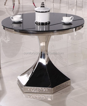 A8039 antique modern carved base round glass dining table