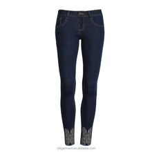 (stock)European high quality pure color elastic pants embroidery jeans nine minutes of pants