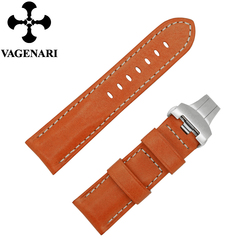 2015 Hot Selling 24/22mm Fashion Orange Italian Genuine Leather Watchband D394 for PAM