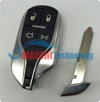 MS 2015 newest car key remote cover for maserati 4 button smart key shell replacement case with emergency key